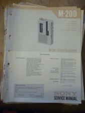 Sony M-200 Micro Cassette Recorder  Service Manual