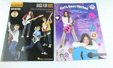 Girl's Bass Method & Bass For Kids Two Instructional Books/Cds Bass Guitar