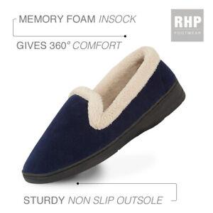 Ladies Comfy Slippers Full Fluffy Memory Foam Navy Hard Sole Slip on Size 4 - 8