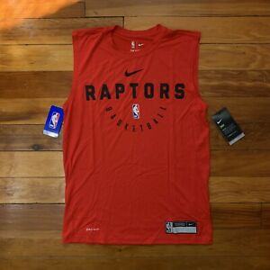 Nike Dri Fit NBA Toronto Raptors Basketball Training Warm Up Tank Top Red Small
