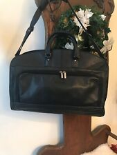 "MURANO BLACK-LEATHER BUSINESS BRIEFCASE BAG ADJUSTABLE SHOULDER STRAP 23""x 17"