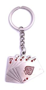 Kartenset Pokern Schlüsselanhänger Keychain Silber Metall