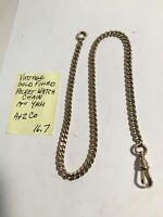 """Vintage Gold Filled Pocket Watch Chain 14"""" 4mm 16.7gr"""