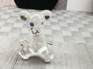 GLASS TEDDY BEAR BLUE EYES