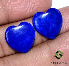10.81 CTS Natural Lapis Lazuli Heart Shape Cabochon Pair 15x15 mm Untreated Gems