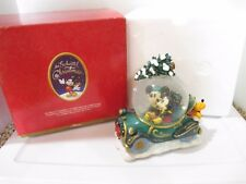 Disney Mickey Mouse & Minnie Enchanted Christmas Musical Snow Globe Car Retired