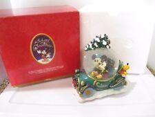 Disney Mickey Mouse & Minnie Enchanted Christmas Musical Snow Globe Car Retired