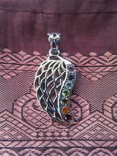 517 Angel Wing/Chakra Solid 925 Sterling Silver pendant 7 gems rrp$89.95