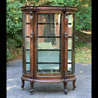 Great! Antique Large Curved Oak China Cabinet Closet Lion Heads Ball Claw Feet