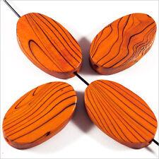 4 Perles en bois Ovales plates 20 x 30 mm Orange Décoré