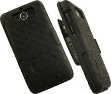 Negro Carcasa con Soporte + Funda Clip para Cinturón Base Motorola Droid Mini