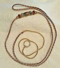 New listing Braided Kangaroo Leather Show Lead with Snake Chain Collar