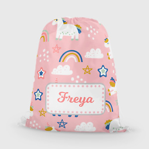 Personalised Unicorn Girls Pink Kids Drawstring Bag PE Swimming School Bag