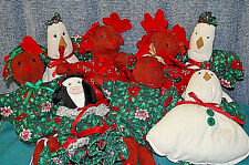 Christmas Collection of 8 stuffed animals: reindeer, cow and chickens - X647