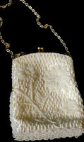 White Beaded Purse Easter Spring Flower  Vintage