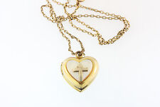 "OLD SIGNED DASON 1/20 12k YELLOW GOLD CROSS HEART LOCKET ON 1/20 12k 14"" CHAIN"