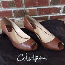 Cole Haan 6AA Brown Leather Open Toe Career Work Pumps Shoes Heels