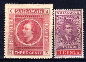 SARAWAK REVENUES: 1885 CHARLES BROOKE RECEIPT 3c HINGED MINT, 1918 3c UNUSED