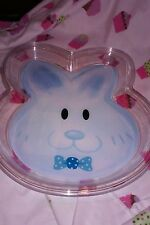 CHEF CRAFT EASTER BUNNY FACE BLUE DECORATIVE PLASTIC PLATE NWT