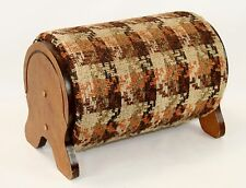 Vintage Wood Barrel Mid Century Foot Stool Orange and Brown Plaid 50s Country
