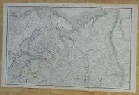 M18 ANTIQUE 1879 FOLIO MAP NORTH RUSSIA STEIN ATLAS HANDCOLORED