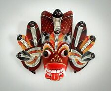 "7"" Asian Handmade Wood Wall Hanging Traditional Cobra Tiki Mask Wooden Sculpture"