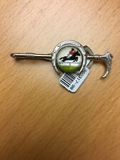 Sterling Silver Steeplechase Horse Crystal Tie Bar