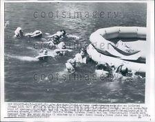 1956 Pan American Airways Stewardesses Survival Training Life Raft Press Photo