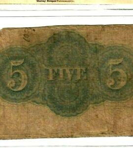 "$5 (BLUEBACK)  ""VALLEY OF VIRGINIA"" 1800'S RARE!!! $5 ""VALLEY OF VIRGINIA"" $5"