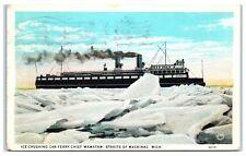 1932 Car Ferry, Chief Wawatam Breaking Ice in Straits of Mackinac Postcard