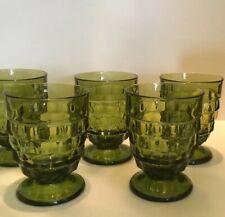 WHITEHALL GREEN BY COLONY 9 OZ. FOOTED TUMBLERS (5)