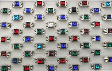 35pcs Square Style New Trendy Men's Jewelry Bulk Lots Colorful Glass Rings AH306