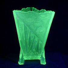 Vintage, Art Deco, Uranium Glass, Sowerby, daisy Vase.