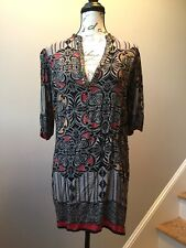 Womens Angie Long Tunic Long Top Shift Dress Boho Gypsy Style Black Design Sz Sm
