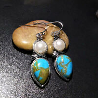 Women Vintage Turquoise Teardrop Hoop Dangle Earrings Pendant Jewelry LD