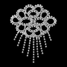 Rhinestone Diamante Silver Motif Crystal Sew On Applique Bridal Dress Patch B137