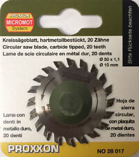 Proxxon 50mm Tungsten tipped saw blade 20T 28017 / Direct from RDGTools