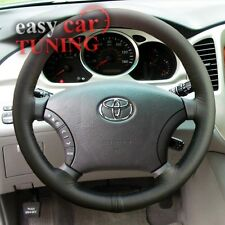 FOR TOYOTA HIGHLANDER 2000-2007 BLACK REAL GENUINE LEATHER STEERING WHEEL COVER