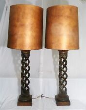 PAIR VTG James Mont Spiral Helix Wood Lamps  Published