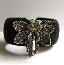 Silver & Marcasite Lilly Flower Leaves Black Stingray Cuff Bangle NEW