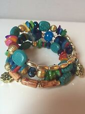 Aztec Colorful fun stacked stretch bracelet