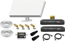 SET Sat Anlage 2 Teilnehmer Selfsat H30D2 Antenne +HD Receiver + Satfinder