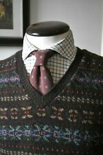 Mens Polo Ralph Lauren 100% Wool Sleeveless Fairisle Jumper Size L Sweater RRL