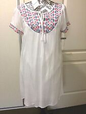 Casual White Dress 89cm long 60cm wide waist Embroidered neckline fully lined