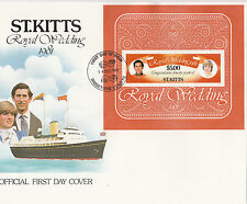 (74273) St Kitts FDC Princesse Diana Mariage Royal Mini feuille 14 December 1981