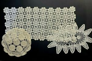 3 Vintage Handmade Crochet Doilies Large Rectangle Oval Round Cream Colored #29