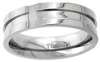 Titanium Ring Men Women Wedding Band 6mm Cross Grooves Flat Polish Comfort Fit