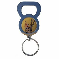 PIN UP SAILOR GIRL BEER DRINK BOTTLE CAP OPENER CHROME KEYRING
