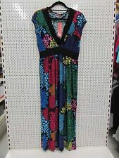 "Simply Aster size USXL UK12 / 14 (42"" chest) multicoloured deep V neck dress 70s"
