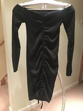 PrettylittleThing, Black Ribbed Long Sleeve Bardot Ruched Body-con Dress UK8 New